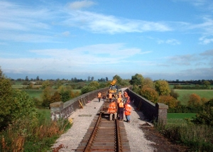 Track laying on the viaduct in 2005