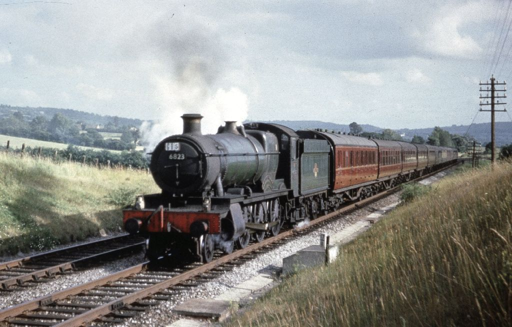 Grange class 4-6-0, no. 6823 Oakley Grange, approaching Two Hedges Road.