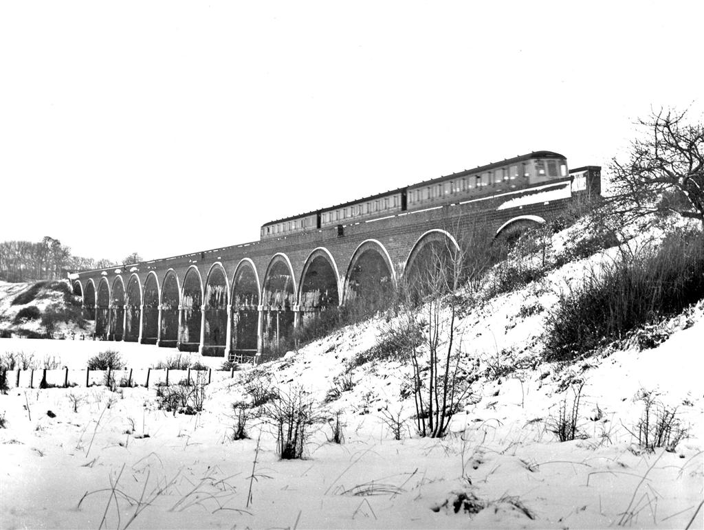 Stanway Viaduct in the snow early in 1968